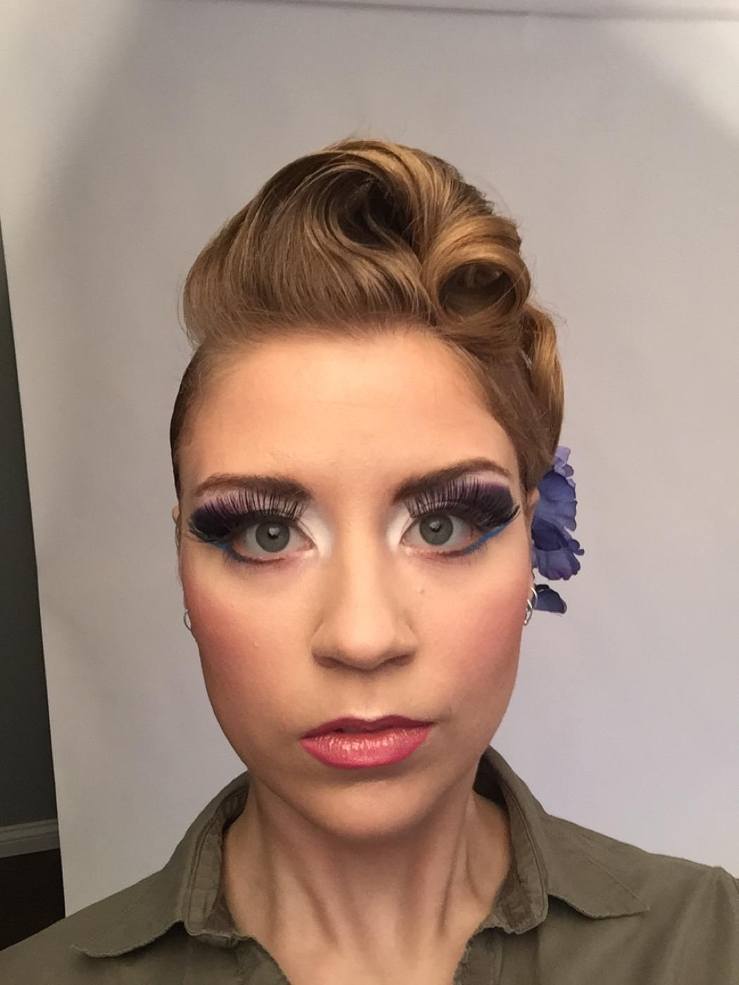 Girl with lots of makeup on