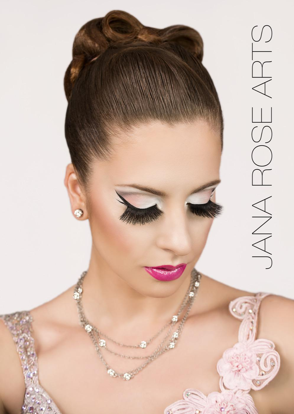 Photo of Jana in full dancesport hair and makeup